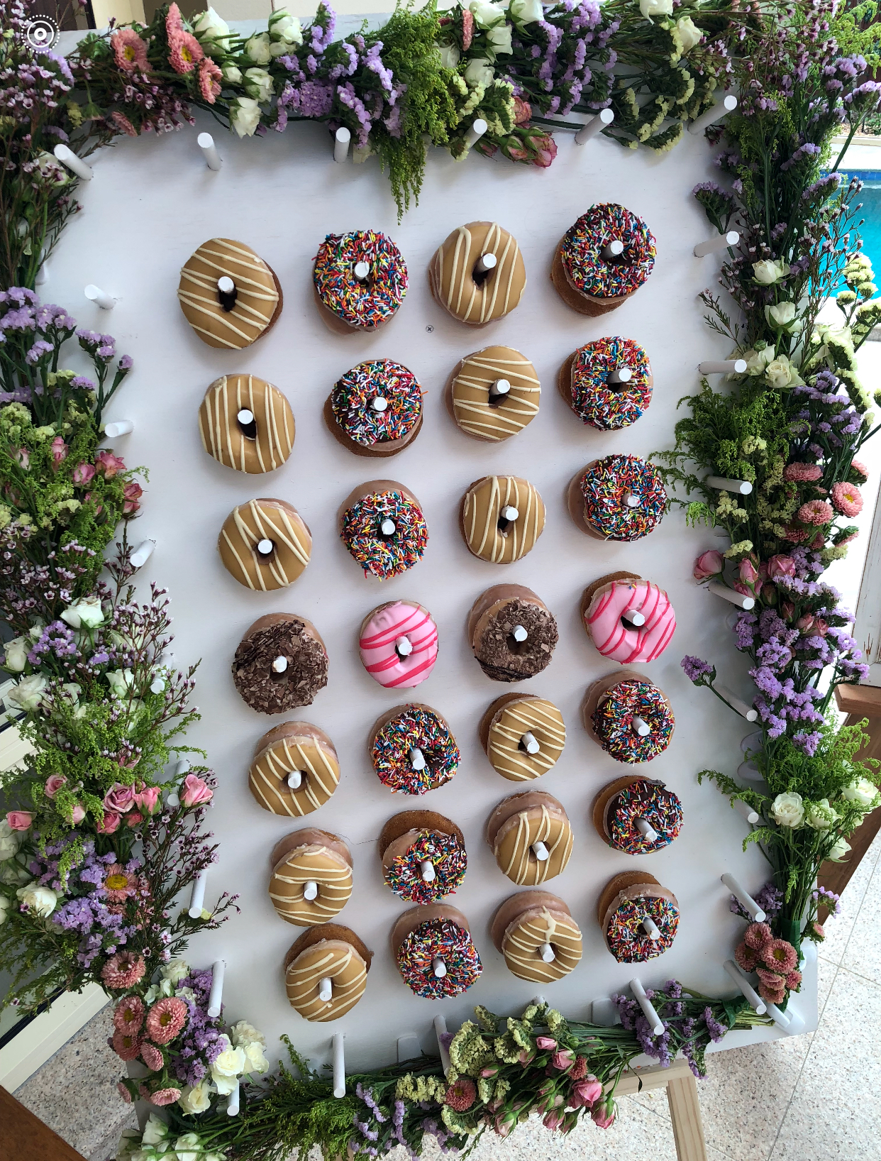 Donut wall with flowers