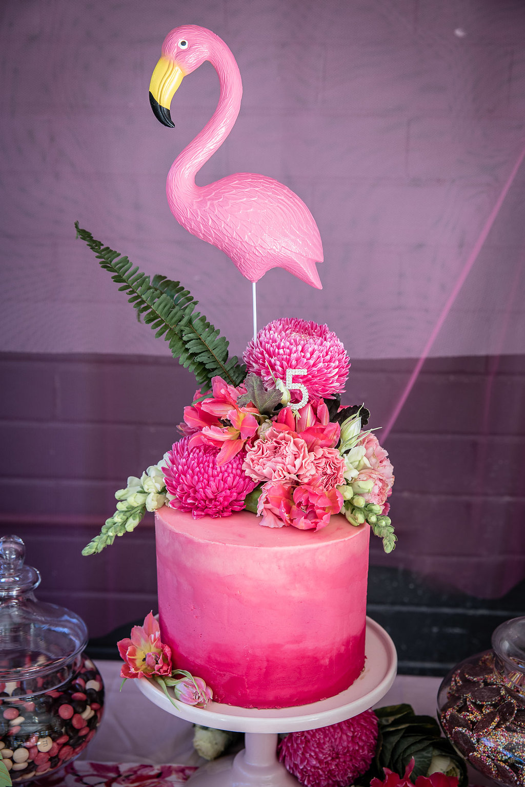 Cake at a flamingo themed birthday party