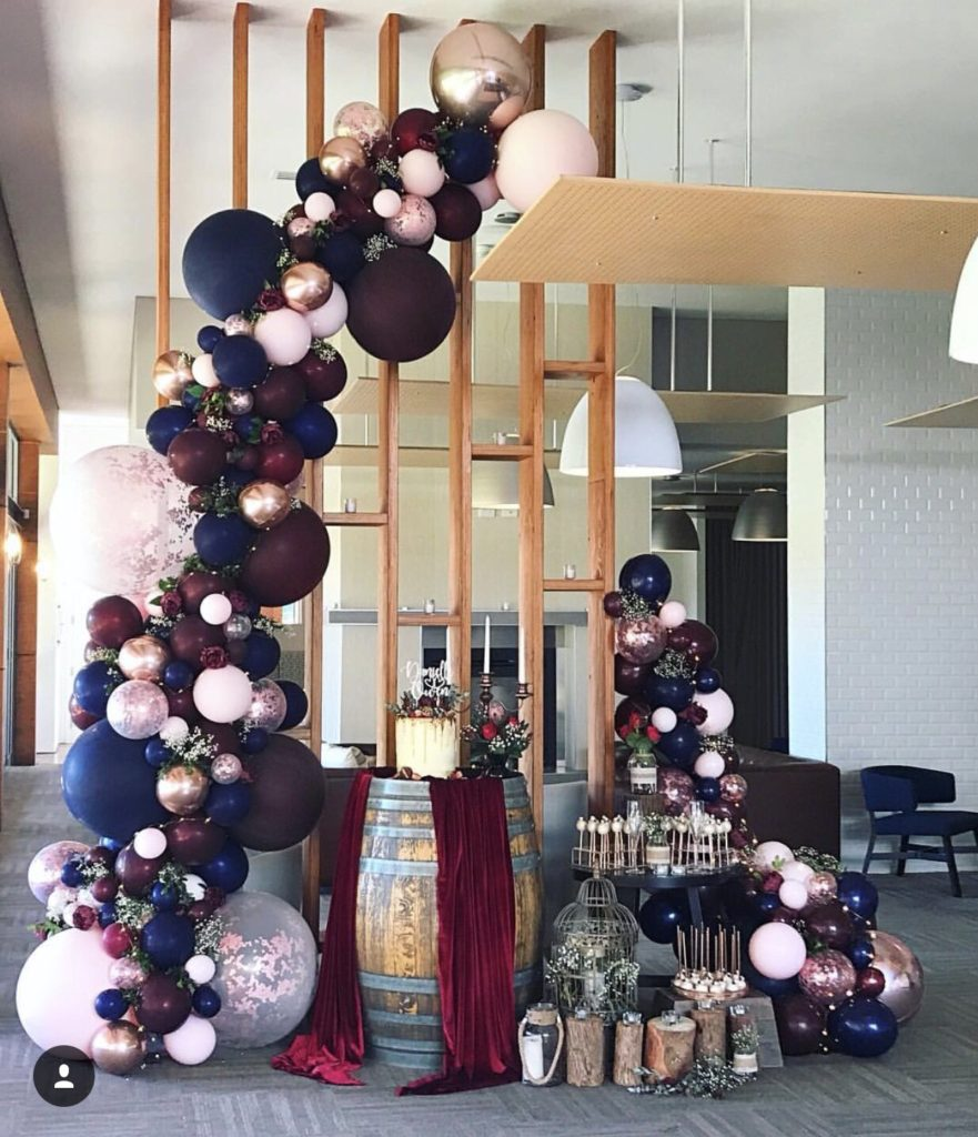 Wedding styling and balloon garland