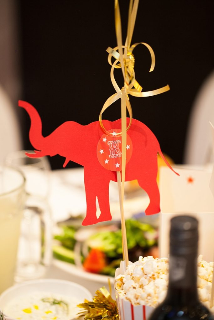 Circus-themed baptism and dessert bar