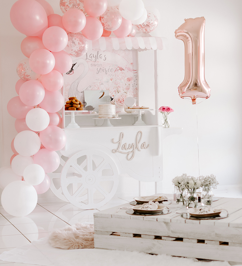 blush and white swan party, A blush and white swan party