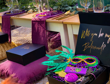 , New Orleans Mardi Gras themed engagement party