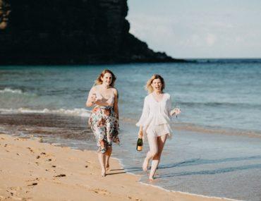 , A botanical beach side bridal shower