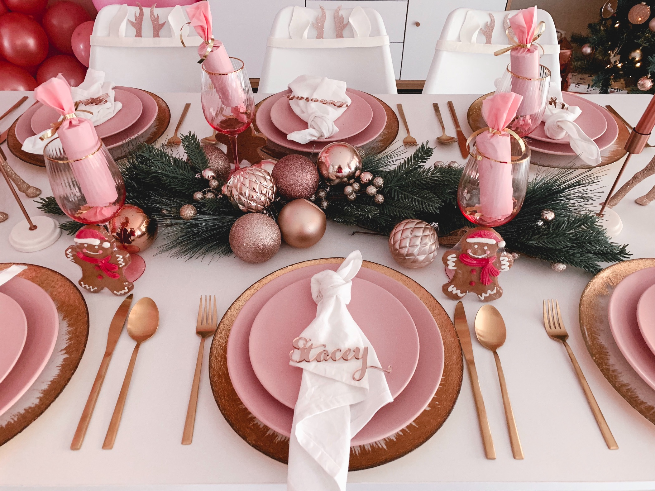 Modern rose gold Christmas party