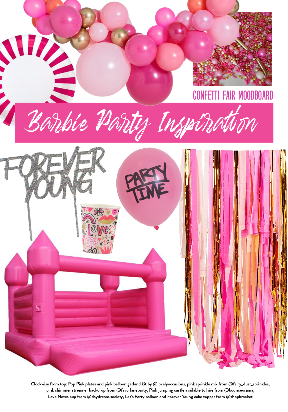 Barbie party theme moodboard