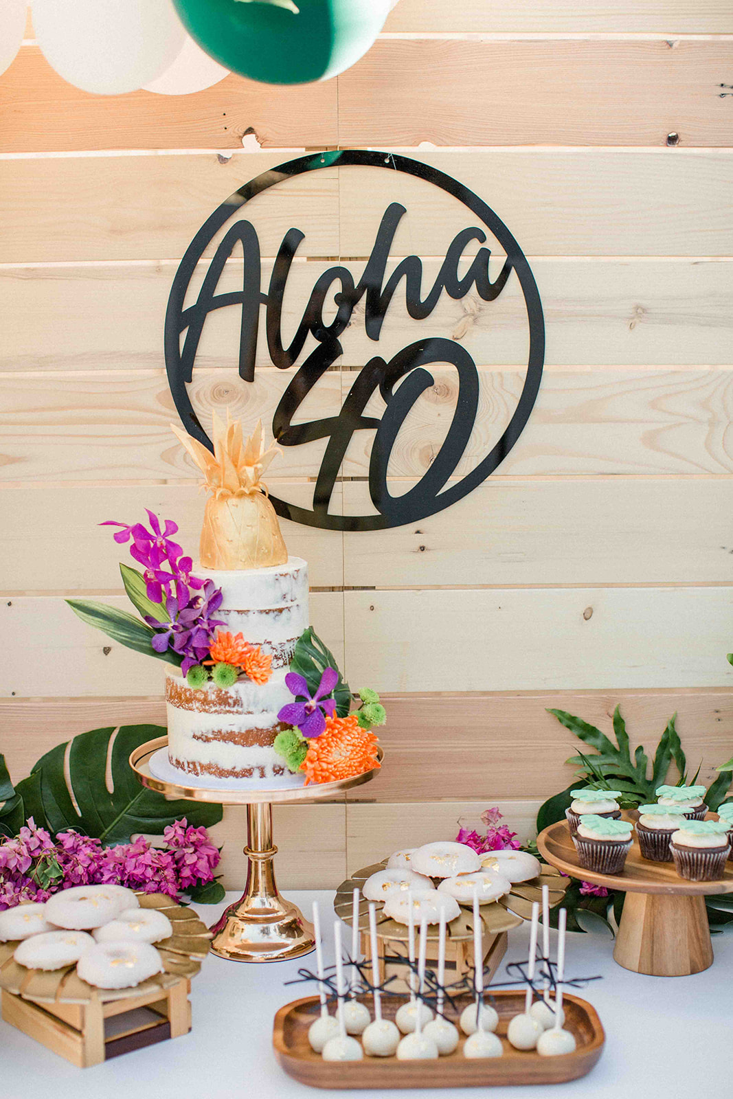 Aloha 40 tropical luxe party sign