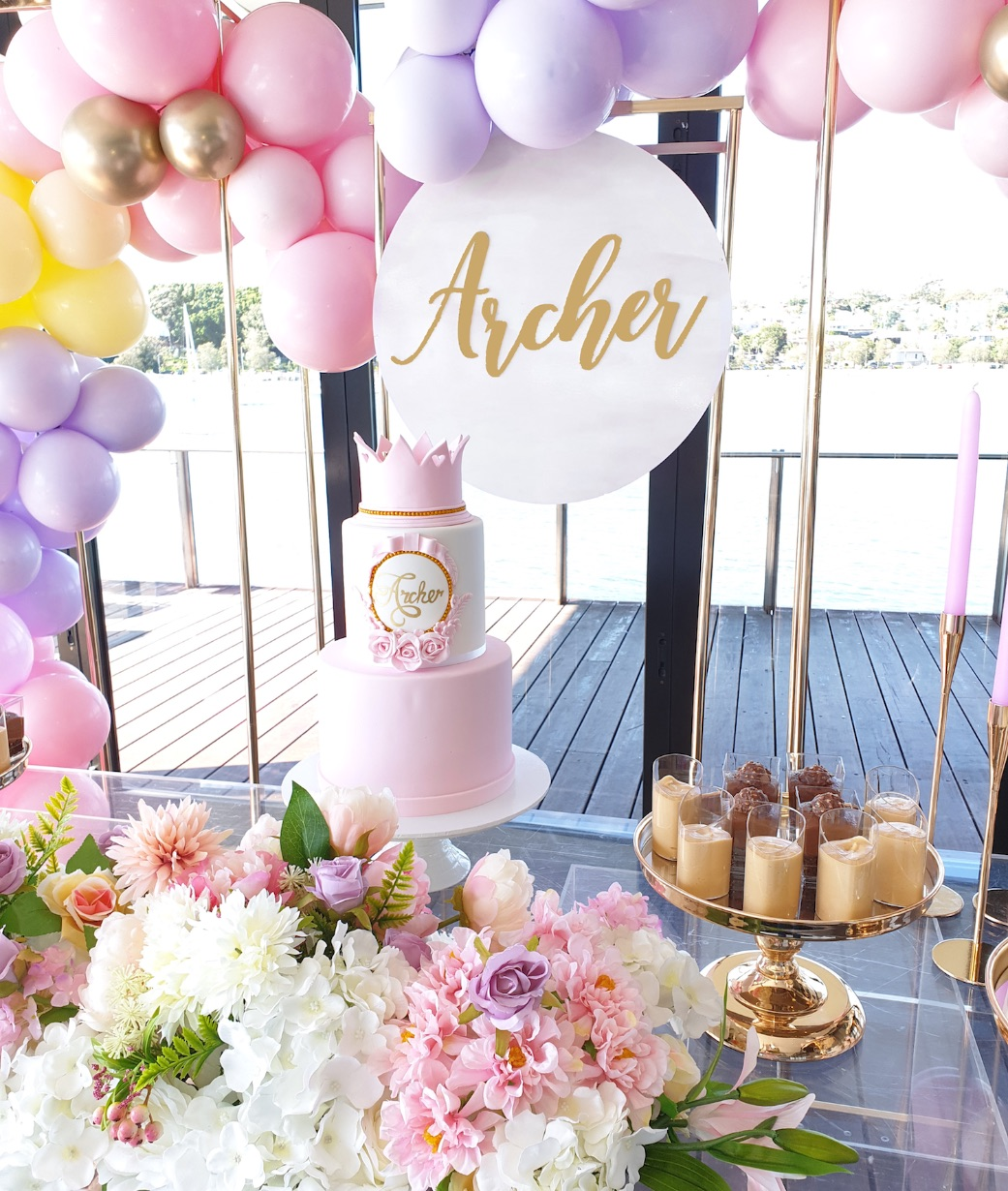 , Archer's pastel and gold christening
