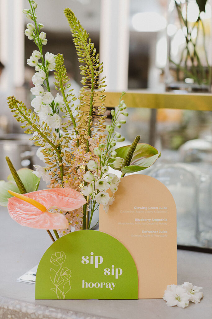 , Feminine and fun green and coral bridal shower